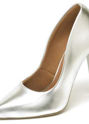 Sapato feminino scarpin salto alto bico fino prateado 11 cm