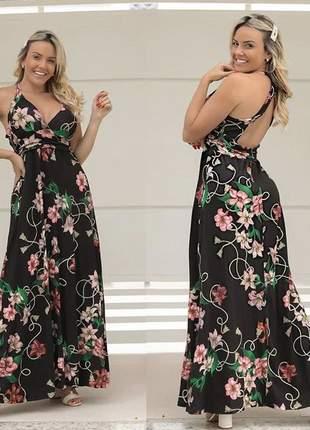 Vestido longo floral costas aberta