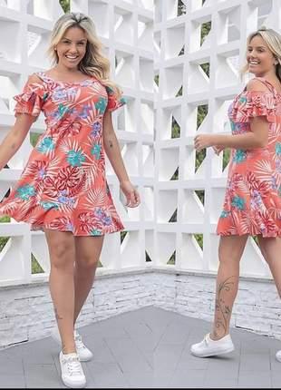 Vestido floral rodado babado verão