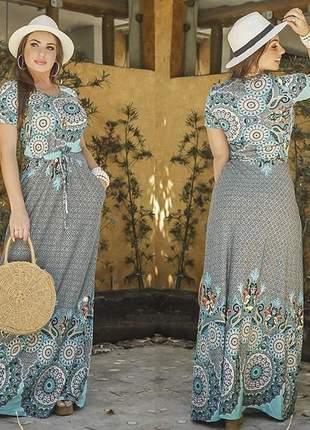 Vestido longo mandala manguinha