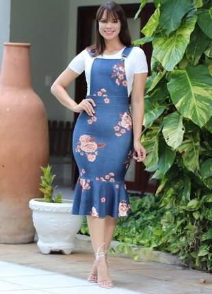Vestido jardineira neoprene midi estilo jeans