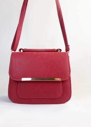 Bolsa bag daniela vermelha em couro ecológico