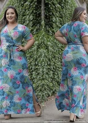 Vestido plus size floral laço