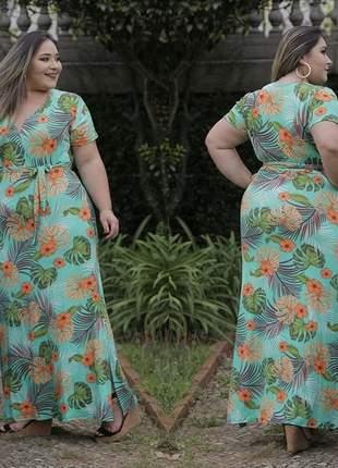 Vestido plus size laço floral
