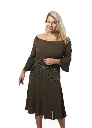 Fclm17699 vestido de crepe com paetê