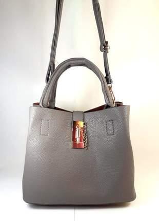 Bolsa bag cintia cinza, em couro ecológico