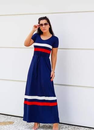 Vestido longo náutico