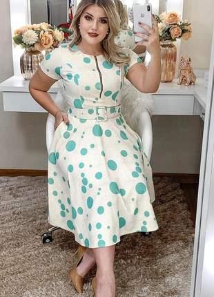 Vestido poá moda evangélica midi acompanha cinto de sua cor