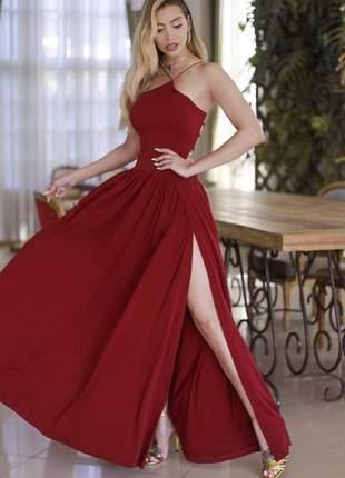 Vestido de festa marsala longo madrinha de casamento formatura baile
