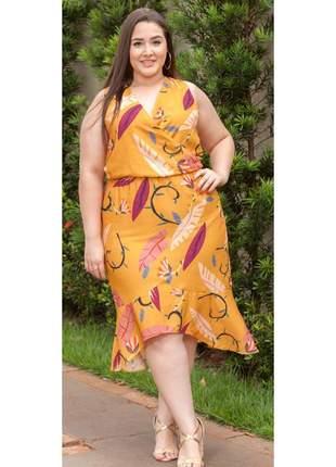 7851- vestido plus size midi em viscose
