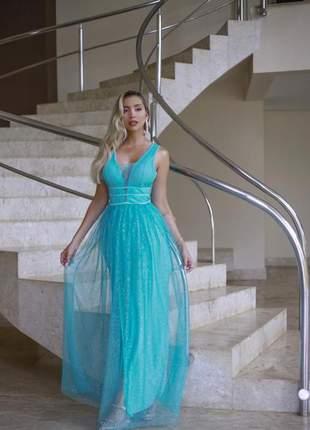 Vestido de festa verde tiffany azul tiffany longo
