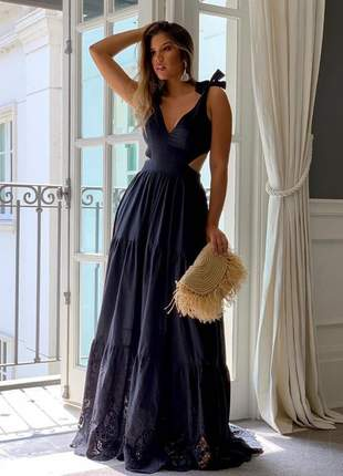 Vestido longo com barra bordada preto