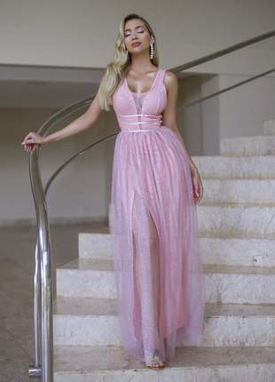 Vestido de festa rose longo