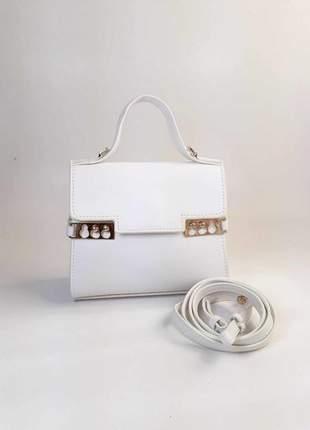 Bolsa bag amanda mini branca - bolsa feminina de mão e tiracolo, em couro