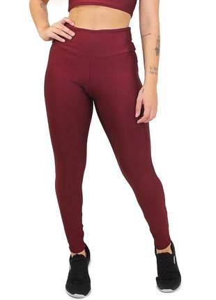 Calça legging fitness lisa marsala cintura alta roupas academia
