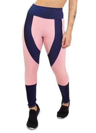 Calça legging fitness riosê e azul marinho academia 2 cores recorte roupas malhar