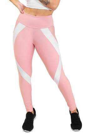 Calça legging rosa e branco academia 2 cores cintura alta moda fitness