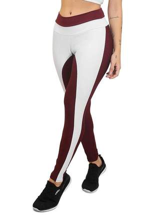 Calça legging fitness academia cintura alta branco e marsala