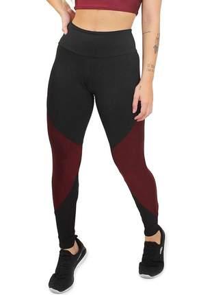 Calça legging fitness 2 cores preto marsala moda academia