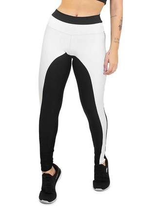 Calça legging academia 2 cores branco e preto moda fitness