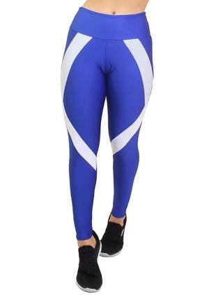 Calça legging fitness 2 cores cintura alta academia azul royal e branco