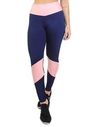 Calça legging fitness academia azul marinho e rosê roupas malhar