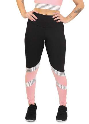 Calça legging academia cintura alta preto e rose detalhes brancos moda fitness