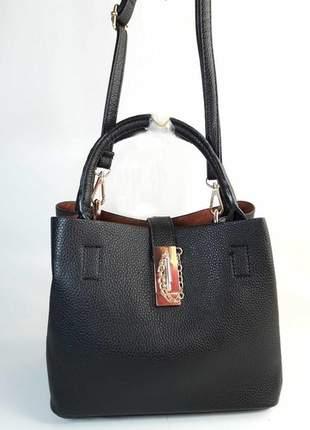 Bolsa bag cintia preta, em couro ecológico