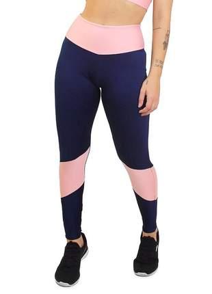 Calça legging academia cintura alta 2 cores azul marinho e rose moda fitness