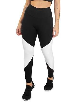 Calça legging academia cintura alta 2 cores preto e branco moda fitness