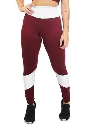 Calça legging fitness academia duas cores cintura alta marsala e branco roupas malhar