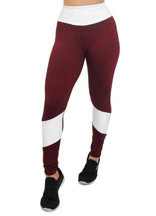 Calça legging fitness marsala e branco 2 cores cintura alta roupas academia