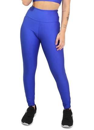 Calça legging lisa azul royal moda fitness cintura alta