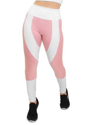 Calça legging fitness duas cores rose e branco roupas academia