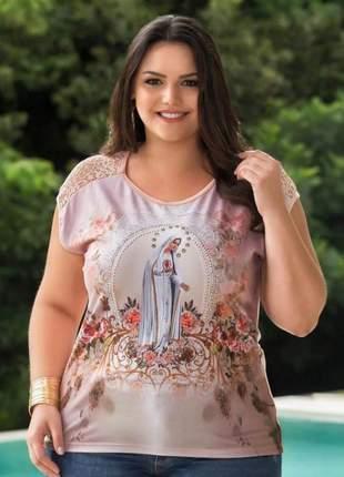 Blusa plus size nossa senhora de fátima bordada - coleção ágape