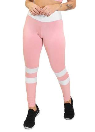 Calça legging fitness academia 2 cores rose e branco levanta bumbum