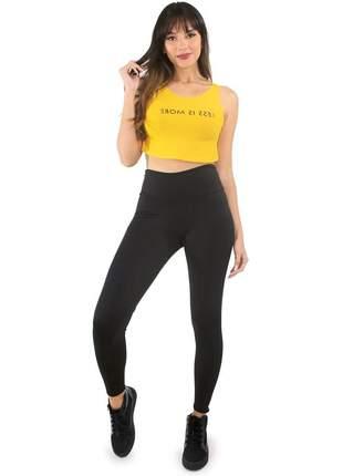 """Conjunto fitness calça legging e cropped estampado less is more """"menos é mais"""""""