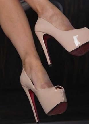 Sapatos femininos peep toe nude plataforma solado vermelho