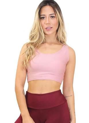 Cropped fitness  feminino liso rosa roupas academia malhar