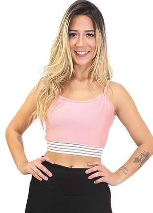 Cropped feminino fitness alcinha detalhe elastico moda fitness