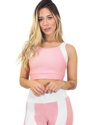 Cropped fitness feminino duas cores rosê e branco