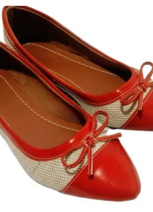 Sapatilha feminina linho com vermelho