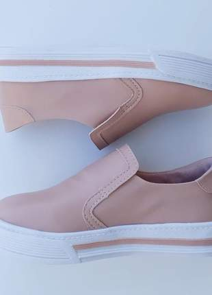 Tênis slip on feminino iate sapatênis rosa flatform sola alta