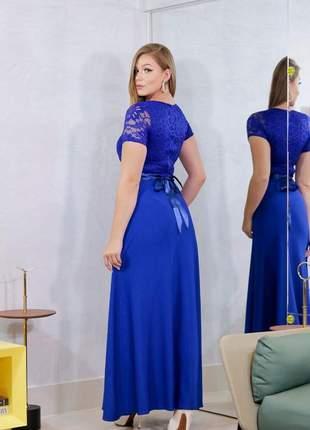 Vestido longo manga curta azul royal