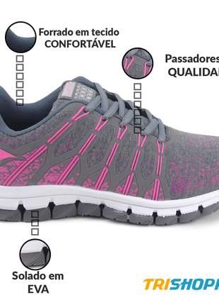Tênis feminino esportivo let's corrida academia treinos grafite/pink