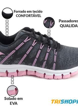 Tênis feminino esportivo let's corrida academia treinos grafite/rosa
