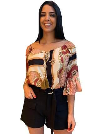 Ddl17808 blusa de cetim estampado