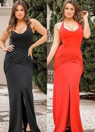 Vestido longo vermelho social de casamento ref 725