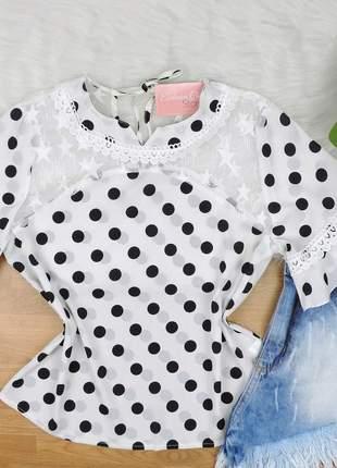Blusa poá detalhe tule branca bs070