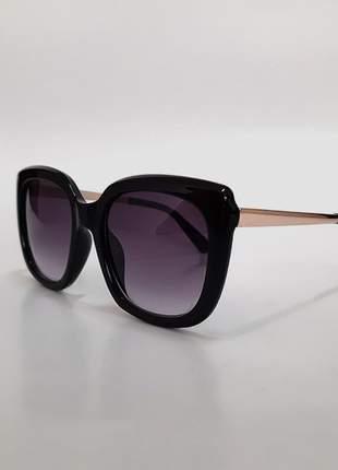 Óculos de sol feminino quadrado - preto proteção uv 400